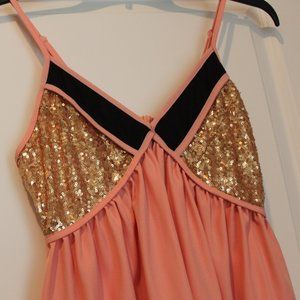 Toby Peach and Gold Sequence Dress size Medium